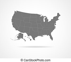 USA states - vector illustration. - Set of black USA states...