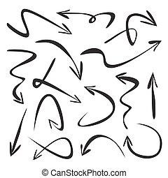 Set of black vector arrows. Drawing Illustration.