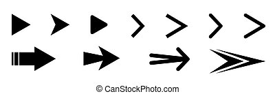 Set of black vector arrows icons