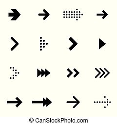 Set of black vector arrows on white background