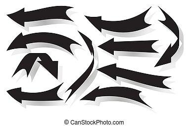 Set of black vector arrows with shadow