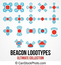 Set of black vector beacon icons. - Set of black beacon...