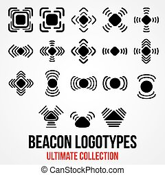Set of black vector bluetooth GPS beacon icons. - Set of...