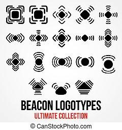 Set of black vector bluetooth GPS beacon icons. - Set of...