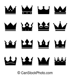 set of black vector crowns - Set of black hand drawn crowns....