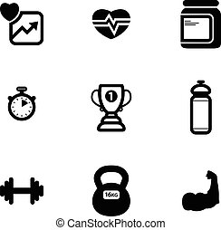set of black vector fitness icons