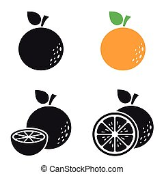 Set of black vector icons, isolated against white background. Flat illustration on a theme orange