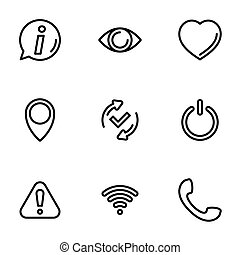 Set of black vector icons, isolated on white background, on theme internet symbols