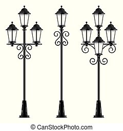 Set of black vector street lamps.