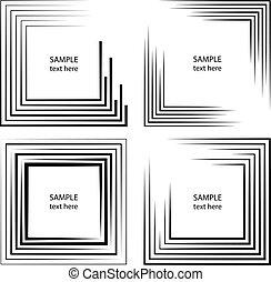 Set of black vector stripes in frame form
