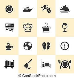 Set of black vector travel and tourism icons.