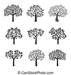 Set of black vector trees.