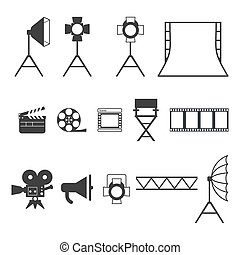 Set of black video production icons. Equipment for photo studio, production of films and advertising. Flat vector cartoon illustration. Objects isolated on a white background.