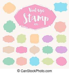 Set of black vintage Stamp ,Blank frame