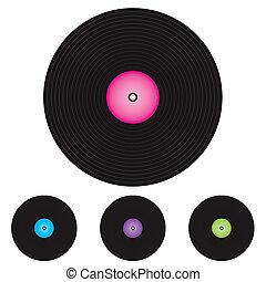 Black vinyl records isolated on white background