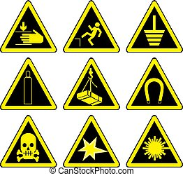 Set of black warning signs