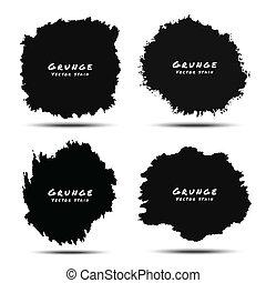 Set of Black Watercolor Grunge Splatters