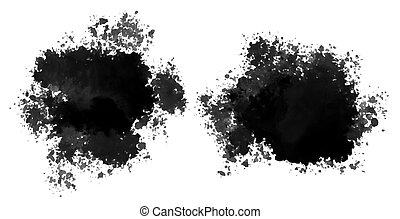 set of black watercolor splatter stain texture