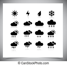 Set of black weather icons.