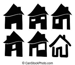 Set of black web home icon, symbol. Vector illustration isolated on white background.