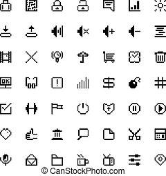 set of black web icons in pixel art
