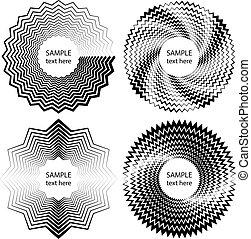Set of black zigzag stripes in circle form