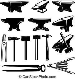Set of blacksmith design elements. Anvils,hammers, pincers. ...