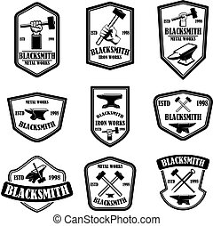 Set of blacksmith emblems. Design element for logo, label, sign, poster, t shirt.