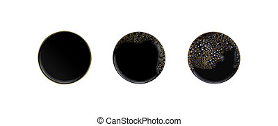 Set of blak coffee isolated on white background. Above view on cups. clipping path.