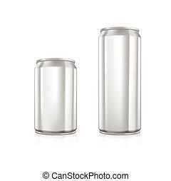 Set of blank aluminium cans.