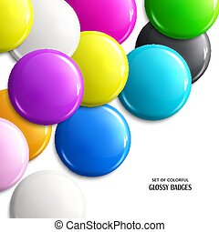 Set of blank, brightly colored glossy badges or web button. Vector.