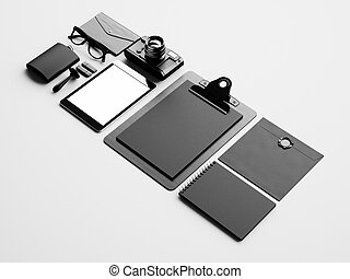 Set of blank business elements on the white background. 3d render