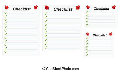 set of blank checklists