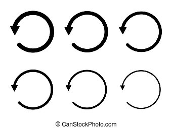 Set of blank circular symbol, arrow icon, refresh graphic vector. Collection of web button