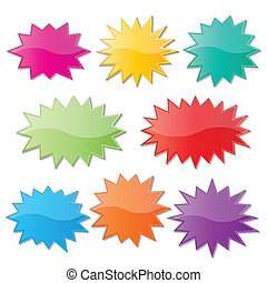 set of blank colorful paper starburst speech bubbles.