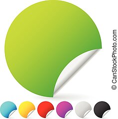 Set of blank colorful peeling stickers. 7 colors included. Vector.