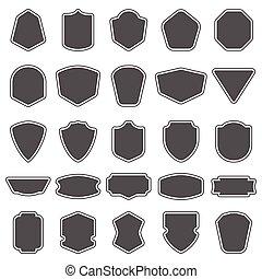 Set of blank empty dark shields. Shield badge shapes. Vintage frames for emblems, labels, insignia