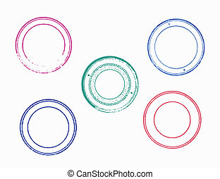 Set of blank empty rubber stamps