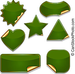 Set of blank green stickers isolated on white background.
