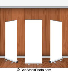 Set of Blank isolated vector roll up banners display mockup