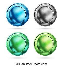 Set of blank matte glass glossy sphere circles, minimalistic...