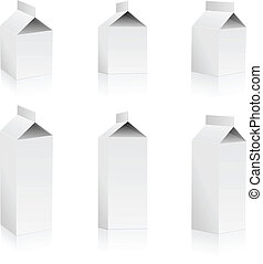Set of blank milk packs