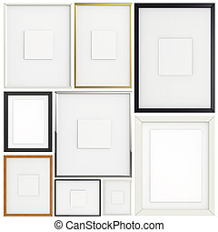 set of blank modern 3d frame on texture background