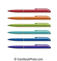 Set of Blank Multicolored Pens Isolated on White