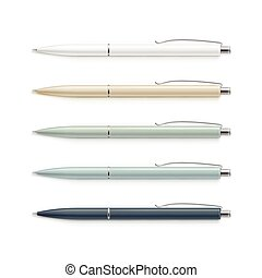 Set of Blank Multicolored Pens with Metal Caps