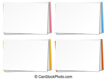 Set of blank paper note template