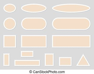 Set of blank paper postage stamps - vector