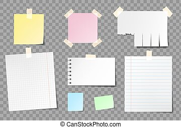 Set of blank paper sheets for notes.