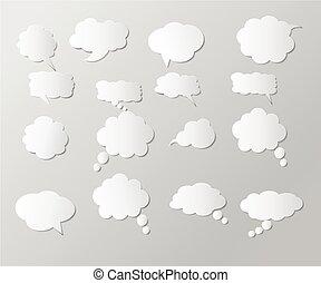 set of blank  paper speech bubbles.