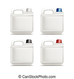 Set of Blank Plastic Jerrycan Canister Gallon Oil Cleanser...